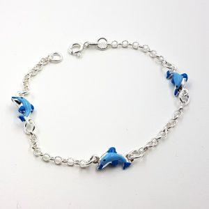 Pulsera de plata con delfines azules